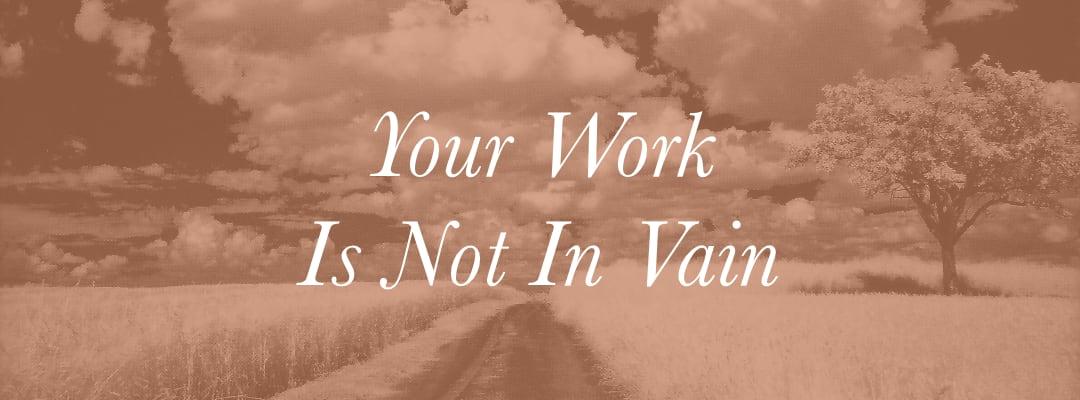 Your Work Is Not In Vain